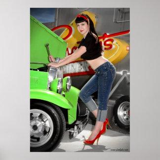 FuelFoto - Hot Rod Shop Pin Up Girl Wall Poster 1