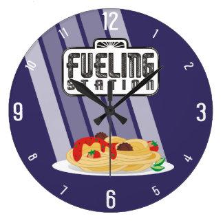 Fueling station spaghetti meatballs kitchen clock