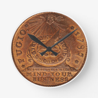 Fugio Cent Mind Your Business Copper Penny Round Clock