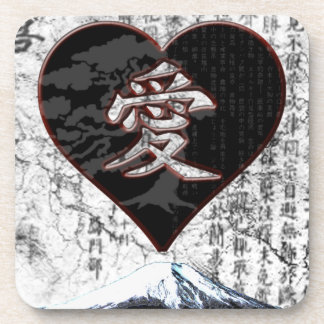Fuji Heart  - Kanji Love - Black & Red Coaster