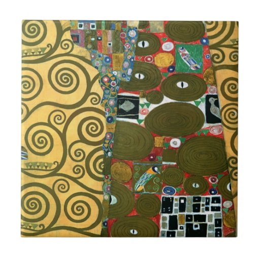 Fulfillment (The Embrace) by Gustav Klimt Ceramic Tile