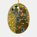 Fulfilment aka The Embrace by Gustav Klimt Ceramic Oval Decoration