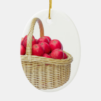 Full basket with red apples ceramic oval decoration