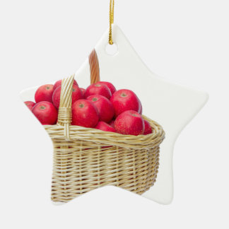 Full basket with red apples ceramic star decoration
