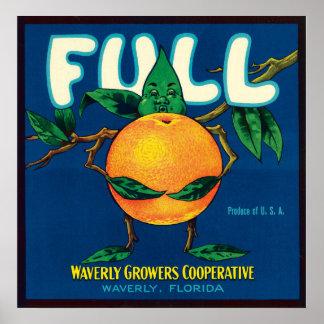Full Brand Oranges Crate Label Poster