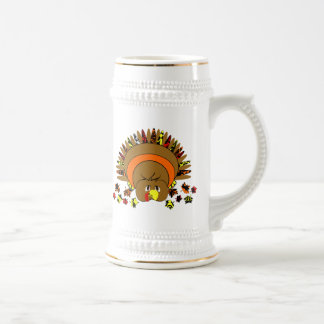 Full Color Thanksgiving Turkey 18 Oz Beer Stein