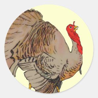 Full Color Thanksgiving Turkey Round Sticker