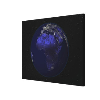 Full Earth at night showing Africa and Europe Canvas Print