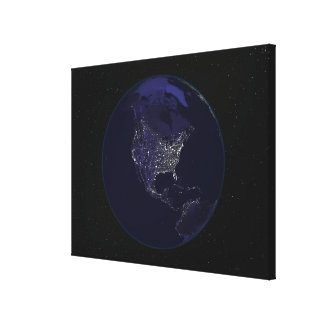 Full Earth at night showing city lights 4 Canvas Print