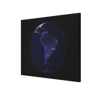 Full Earth at night showing city lights 6 Canvas Print