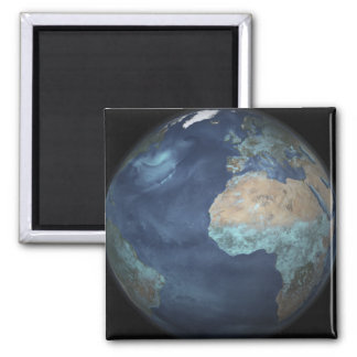 Full Earth showing evaporation Square Magnet