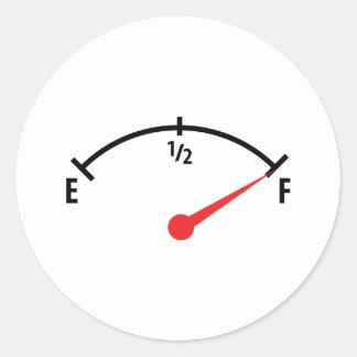 full fuel tank indicator gauge round sticker