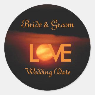 Full Harvest Moon Wedding Classic Round Sticker