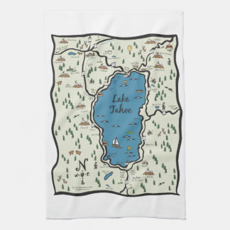 Full Lake Tahoe Area Map Kitchen Towel