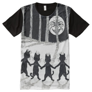 Full moon and Cats, Louis Wain All-Over Print T-Shirt