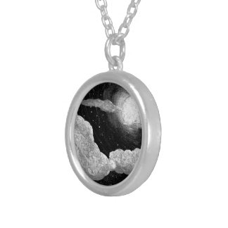 Full Moon and Clouds Black and White Necklace