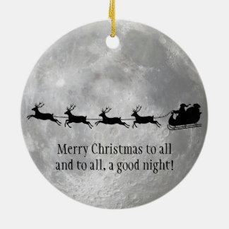 Full Moon and Santa Design Ornament