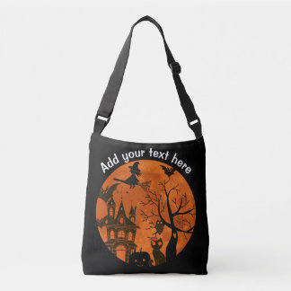 Full Moon and Witch Flaying on a Broom Cute Hallow Crossbody Bag