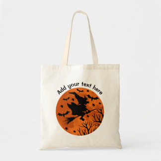 Full Moon and Witch Flaying on a Broom Cute Hallow Tote Bag