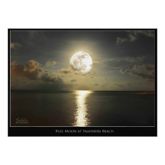 FULL MOON AT SMATHERS BEACH POSTER