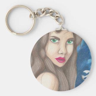 Full Moon Basic Round Button Key Ring