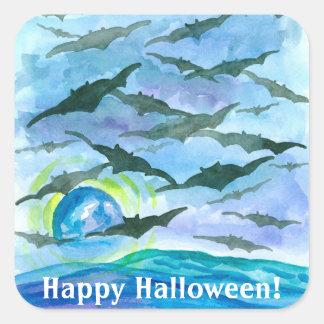 Full Moon Bats Happy Halloween Square Sticker