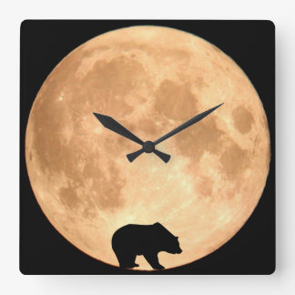 Full Moon Bear Square Wall Clock