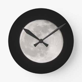 Full Moon by night, landscape Round Clock