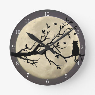 Full Moon Cat Whimsical Time Round Clock