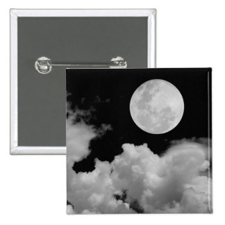 FULL MOON CLOUDS BLACK AND WHITE 15 CM SQUARE BADGE