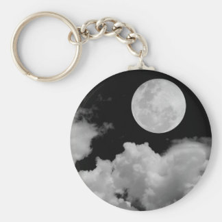 FULL MOON CLOUDS BLACK AND WHITE BASIC ROUND BUTTON KEY RING
