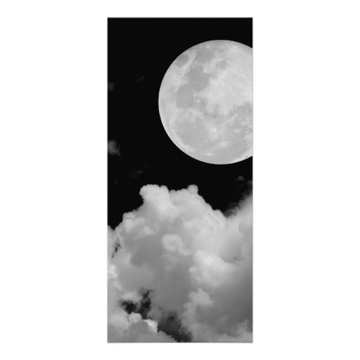 FULL MOON CLOUDS BLACK AND WHITE CUSTOMISED RACK CARD