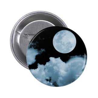 FULL MOON CLOUDS BLUE 6 CM ROUND BADGE