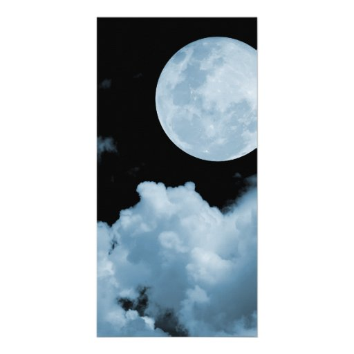 FULL MOON CLOUDS BLUE CUSTOMIZED PHOTO CARD