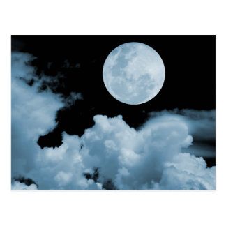 FULL MOON CLOUDS BLUE POSTCARDS