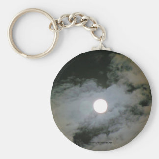Full Moon Clouds Nature Photo Keychain Keyring