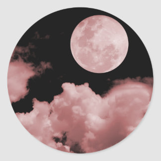FULL MOON CLOUDS RED CLASSIC ROUND STICKER