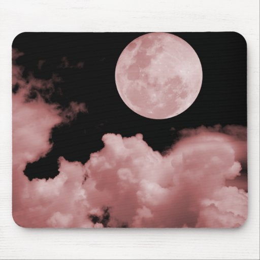 FULL MOON CLOUDS RED MOUSE PAD