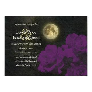 Full Moon Deep Purple Ghost Roses Wedding 13 Cm X 18 Cm Invitation Card