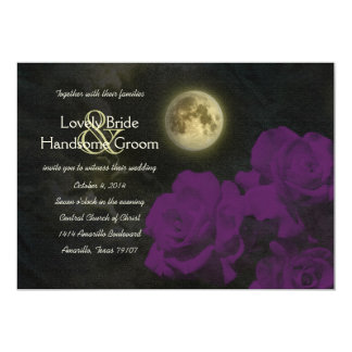 Full Moon Deep Purple Ghost Roses Wedding 13 Cm X 18 Cm Invitation Card