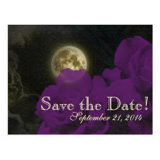 Full Moon Deep Purple Roses Save the Date Postcard