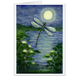 Full Moon Dragonfly Pond Waterlilies Art Note Card