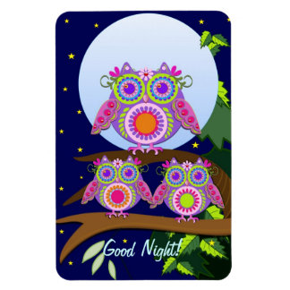 Full moon, flower-power Owls with text Magnet