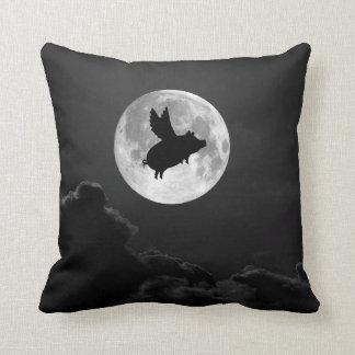 full moon flying pig pillow cushion