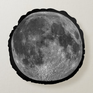 Full Moon From Space Round Globe Round Cushion