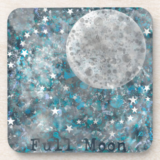 Full moon galaxy and stars beverage coasters