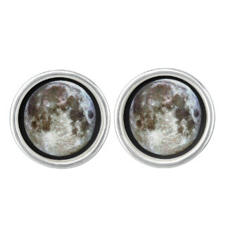 Full Moon Gold Cuff Links