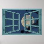 Full Moon Green 6 Pane Open Window Poster