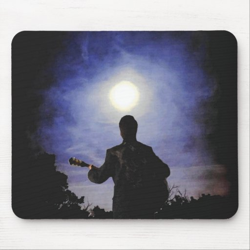 Full Moon & Guitar Silhouette Mouse Pads