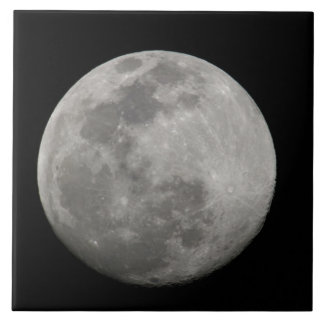 Full moon in black and white. Credit as: Arthur Large Square Tile